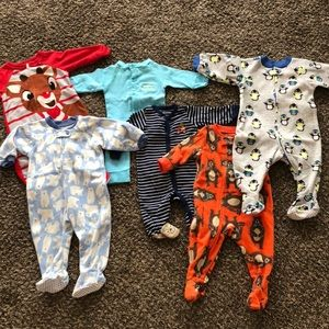 Other - Six baby boy one piece pajamas, sz 6 mo